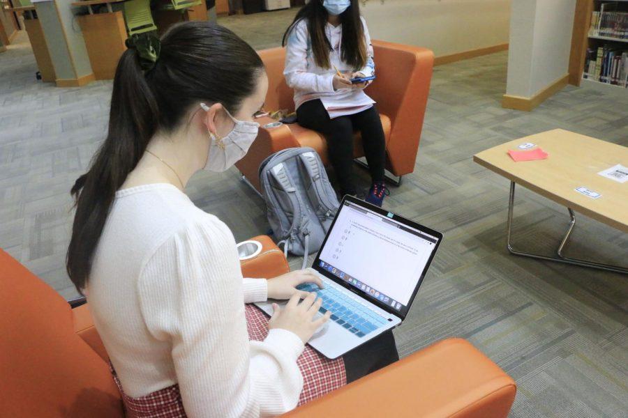 PHYSICS PREP: Senior Mackenzie Misterka studies for her AP Physics C final. Misterka said,