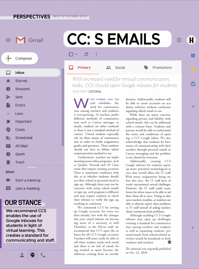 With increased virtual communication, tasks, CCS should open Google inboxes for students