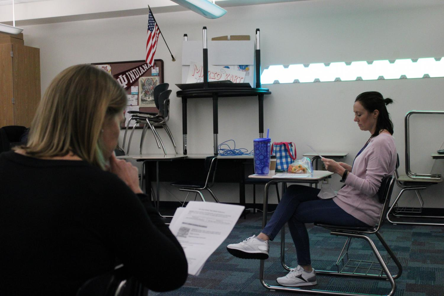 English 11 teachers Emily LeFors and Enid Baines meet over lunch to discuss changes to the curriculum for the 2021-2022 school year as well as adaptations for hybrid schedule. Baines led the meeting, speaking on how to teach The Great Gatsby with the limited schedule.