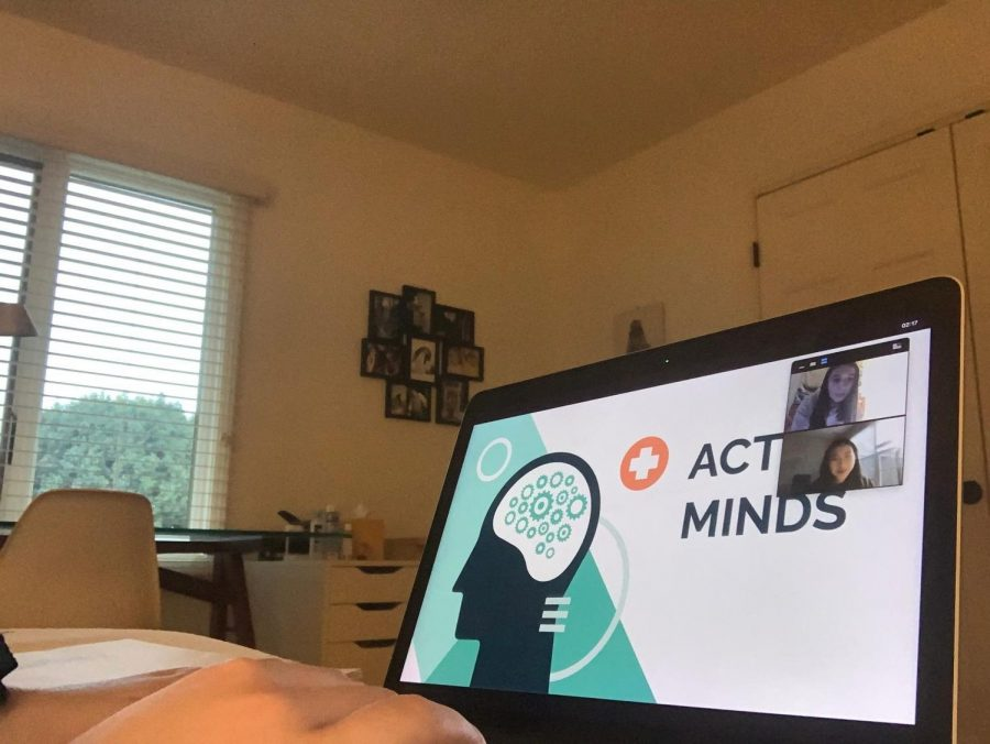Clizia Martini, CHS Active Minds co-president and junior, meets over Zoom with the other co-president of Active Minds to plan for their virtual callout meeting on Sept. 11. Martini said Active Minds focuses on spreading mental health resources and awareness, and their club is supportive of the Behavioral and Mental Health Services Agreement Carmel Clay Schools is entering in.