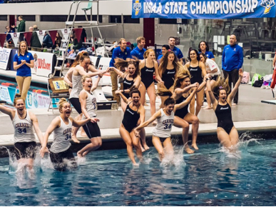 The women's swim team celebrates a state victory on February 17. Lueking said she was excited for the team's hard work to pay off this season. Photo from @SwimDiveCHS on twitter