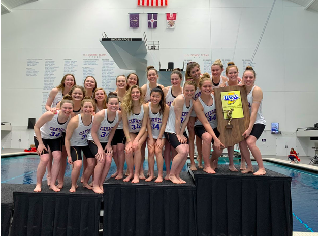 The women's swim team celebrated their 34th consecutive IHSAA state championship on February 15, 2020. According to Jim Inskeep, CHS athletic director, the women's swim team holds the longest streak in the nation. Photo from @SwimDiveCHS on twitter