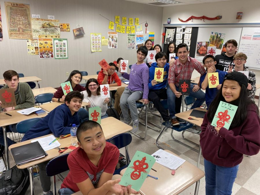 Tungfen Lee's Chinese 2 class celebrates Chinese New Year in 2020. Lee's class made