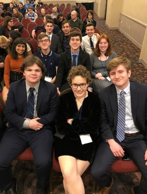 """Jessica """"Jesse"""" Cooper poses for a group photo with her fellow WHJE staff members at the Intercollegiate Broadcasting System (IBS) competition last year in New York. Cooper said via email she is honored to be nominated."""