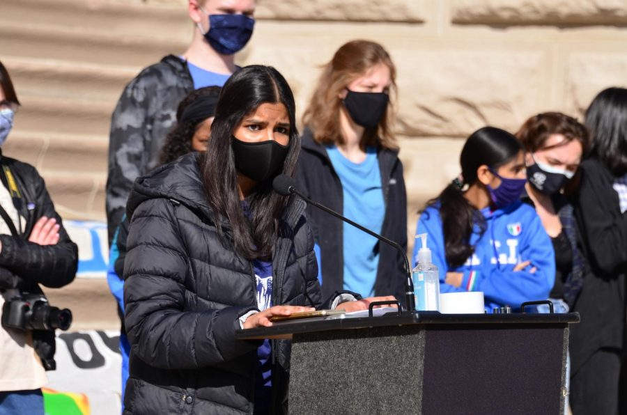 Junior Maanya Rajesh gives a speech at the Confront the Climate Strike. Rajesh is also the co-president of the CHS club, Green Action club.