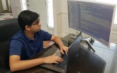 Junior Adi Ariyur works on his CHS Club Access app. He said a challenge he faced while coding the app was using a Django framework, because he had to implement multiple user types and handle administration, sponsor, and member logins.