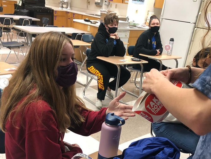 FCCLA shared a post on Instagram with students collaborating during a club meeting. Marissa Cheslock, student leader of FCCLA and senior, said the club will continue to hold bimonthly meetings for each cohort to account for the hybrid schedule and ensure space for social distancing.