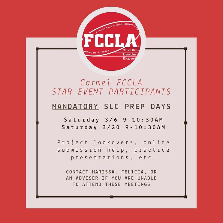 FCCLA shares a post on Instagram with information for those participating in STAR Events. Marissa Cheslock, FCCLA student leader and senior, said the club will be holding mandatory days for preparation in March so students can practice their presentations and receive help on their projects.