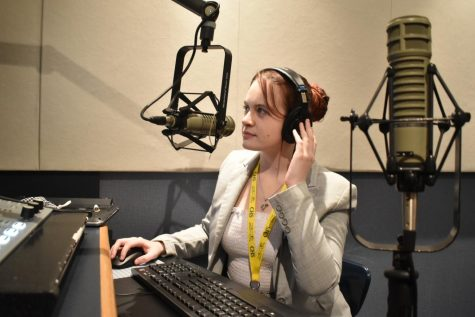 """Senior Skylar Greaves records and edits a segment for her podcast """"What's in Wyoming."""" Greaves said her main focus for WHJE is drama podcasts, and she is one of three podcasting managers."""