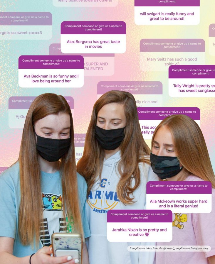 KILL 'EM WITH KINDNESS:  (Left to right) Freshmen Jamie Elliott, Ava Carter and  Chloe Del Carlo smile as they look through the  @carmel_complimentss Instagram page together.  The account has shared upwards of 70 compliments daily.