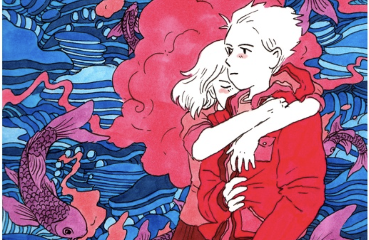An illustration By Tillie Walden that can be found in her online sketchbook, its titled sketchbook #15. What makes it such a great Walden piece is that it has all of her  trademarks in one cute little drawing. You see her playing with another worldly vibe in the background, flying koi, and intimate physical contact; it