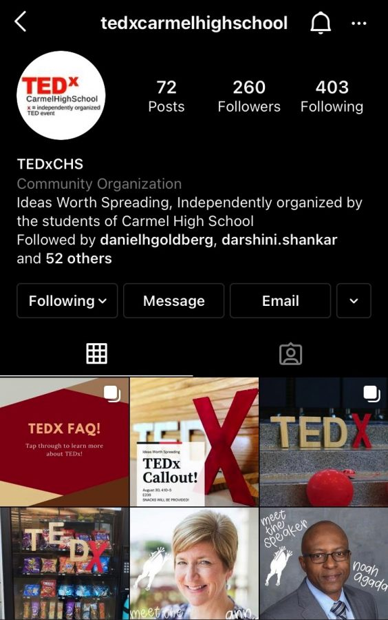 TEDx Carmel uses its instagram to push out updates about speakers and club events.
