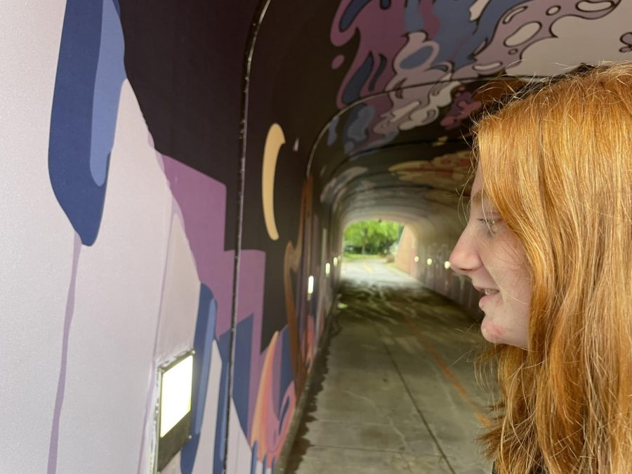 Sophomore Maiza Munn admires the details on the mural that was painted with senior Caroline Hammonds' design.