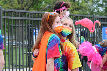 Caption (Submitted Photo Annie Salter): Julia Muller, Speaker of the House and senior, poses with another Cabinet member during last year's Dance Marathon. According to Muller, Cabinet members are excited for the upcoming events this fall, such as the Race for Riley Color Run and Tailgate For Life.