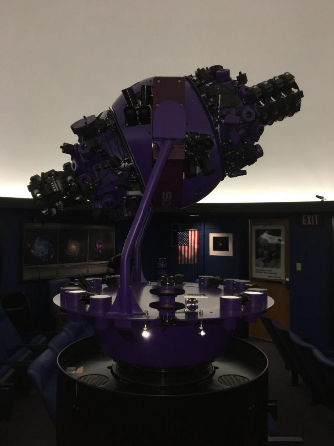 GOTO Optical Mechanical Star Machine. This device simulates the night sky that we can see with the naked eye all the way around the planet. According to Turner, this device is connected to star plates that are actual images of the night sky, so the device projects stars accurately.