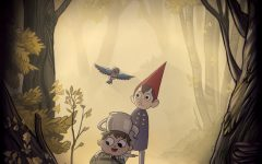 A promotional image created for the 2015 miniseries Over the Garden Wall. Here you can see the light fall colors that dominate the show as well as some goofy fairy tale inspired character designs.